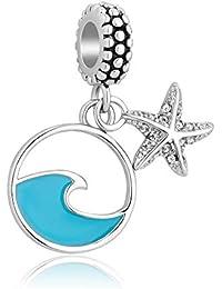 Unqiueen - Abalorio para pulseras de abalorios de playa con diseño de estrella de mar