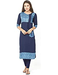 SareeShop Women Stitched Cotton Kurtis (L-Large && Dark Blue)
