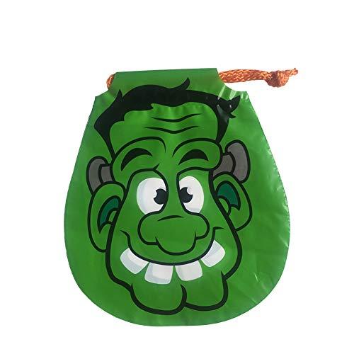 Joyfeel buy 6 Stück Halloween Tasche Kinder Grün Kurzer Haar Geek Muster Geschenkbeutel Süßigkeitstasche Kordelzug für Kostüm Party -