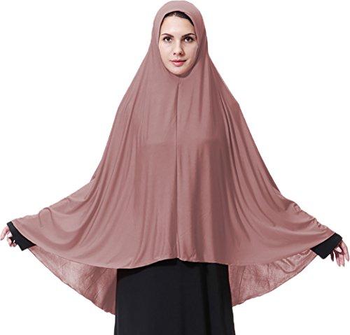 Ababalaya Damen Elegantes Modest Muslimischen Islamische Kopftuch Hijab Maxi Schal GroßÜbergröße Einfarbig,Dunkel Rosa,M