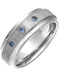 Theia Ring Flach Court 3 Blau Saphiren Matt 7 mm Titan Gr. 56 (17.8)