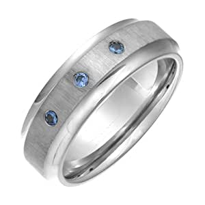 Theia Titanium Flat Court 3 Blue Sapphires Matt 7mm Ring - Size K