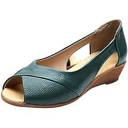 LuckyGirls Chic Sandalias de Mujer Verano 2020 Tacon Bajo Elegantes Zapatos de Maternidad Vestir Casual Sandalias Mujer Fiesta Punta Abierta Peep Toe Zapatillas Madre Comodas