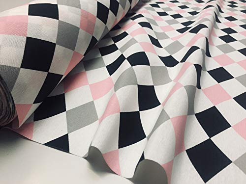 Rosa Kostüm Clown - LushFabric Harlequin Rautenmuster, Baumwollstoff, Polstermöbel, Heimdekoration, Clown-Kostüm, 140 cm breit, Weiß/Rosa/Grau/Schwarz, Sample (10 cm x 10 cm)