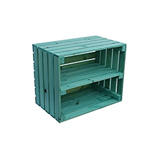 LARGE WOODEN APPLE CRATE WITH LONG INTERNAL SHELF STORAGE DISPLAY SHOE RACK G