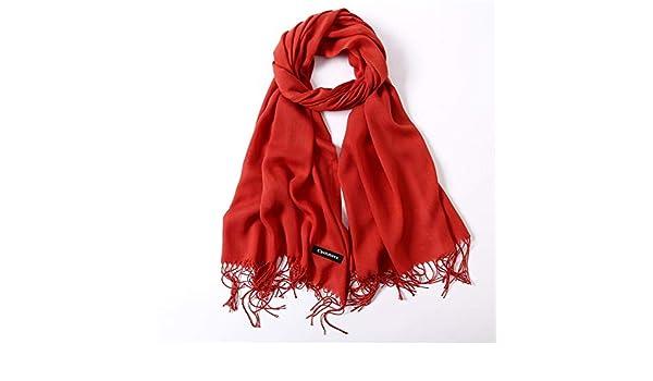 HITSAN INCORPORATION women scarf fashion summer thin solid shawls and wraps  lady pashmina bandana female hijab winter long foulard head scarves deep  orange ... ca675e1c614