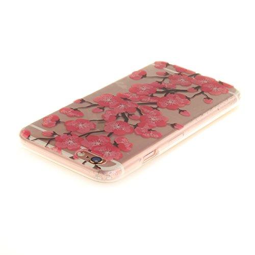 Pour iPhone 6 6S (4,7 Zoll) Coque,Ecoway Housse étui Flexible protection en TPU Silicone Shell Housse Coque étui creux Slim Case Cover Cuir Etui Housse de Protection Coque Étui iPhone 6 6S (4,7 Zoll)  Blossoming fleurs