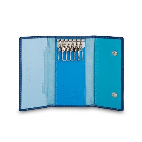 Portachiavi classico in pelle Multicolore a 6 ganci firmato DUDU Blu