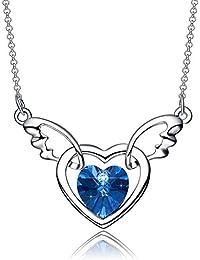 """NEEMODA """"Coeur d'ange"""" Pendentif en cristal de 18 carats en or blanc avec pendentif en or blanc Boîte cadeau luxueuse"""