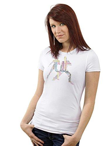 Zumba T-Shirt Mädchen - Frau Sport 180g. Premium Qualität Schnelltrocknung (XXL) (S) (Weste Männliche Hippie)