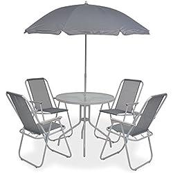 Festnight- Salon de Jardin Textilène 1 Table et 4 Chaise Pliable et 1 Parasol Gris
