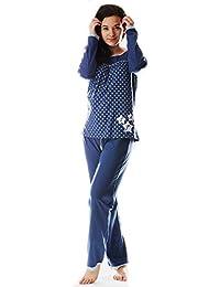 Blau Pyjama lang SCHIESSER Damen Schlafanzug Set Langarm Homewear M-3XL