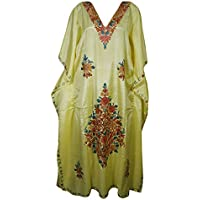 Mogul Interior Women Kaftan Dress Soft Silk Yellow Floral Embroidered House Caftan One Size