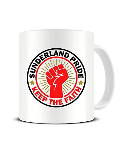 Funky NE Ltd Keramik-Kaffeebecher mit Sunderland Pride - Keep The Faith - Lokaler Pride - Teetasse - tolle Geschenkidee -