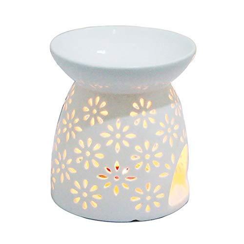 Creativa lampada aromatica forata Debon in ceramica colore bianco latte motivo floreale...