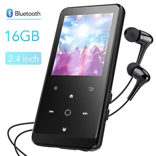 Bluetooth 4.0 16GB MP3 Player, HiFi Musik Player mit Kopfhörer, MP3 Player Kinder 50 Stunden Wiedergabe, 2.4 Zoll TFT Bildschirm FM Radio Voice Recorder, Speicher Erweiterbar bis 128 GB, von AGPTEK