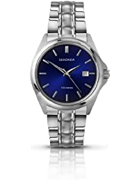 Sekonda Men's Quartz Watch with Blue Sunray Dial Analogue Display and Silver Stainless Steel Bracelet 3953.27