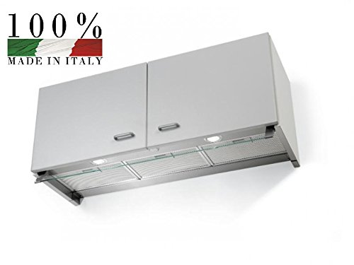 Preisvergleich Produktbild Lüfterbaustein / Wandschrank Unterhaube / GALVAMET OPTIMA 60 / A IX / 90 / A IX / Hochwertig und qualitativ / EEK A / Dunstabzughaube / Luftabzug / für Wandschränke 80 cm / 60 cm / LED / Design und hergestellt in Italien (60 cm / INOX / GLAS)
