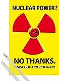 1art1 Energia Nucleare Poster Stampa (91x61 cm) Nuclear Power No Thanks E Coppia di Barre Porta Poster Trasparente