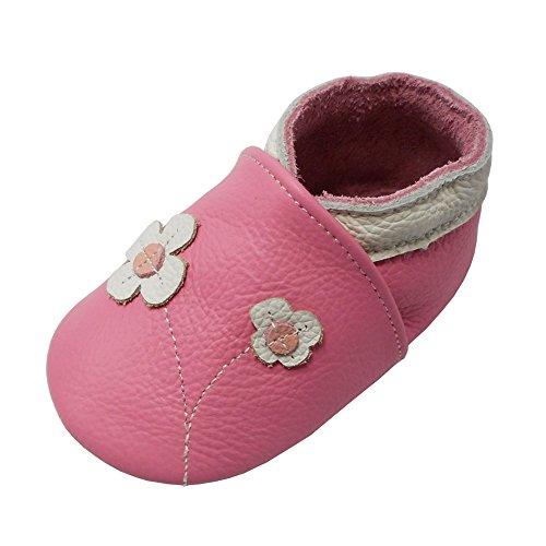 Yalion Baby Mädchen Weiches Leder Lederpuschen Kleinkinder Krabbelschuhe mit süßen Blumen Rosa,24-36 Monate