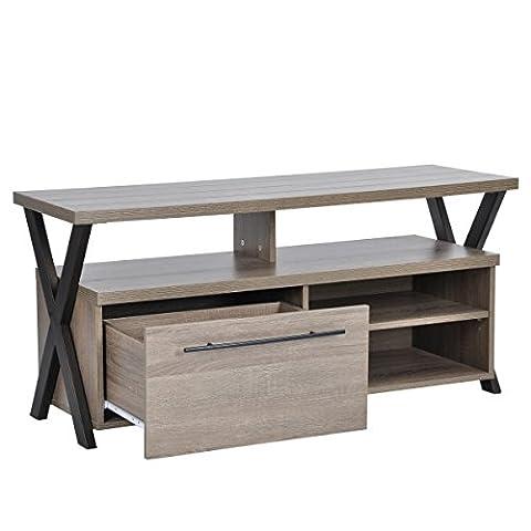 Innovareds Home moderne Cross Meuble TV étagère 4étages 1Rangement tiroir TV Table pour 32jusqu'à 152,4cm (105cm de large) LED LCD et plasma Television Gris Oka