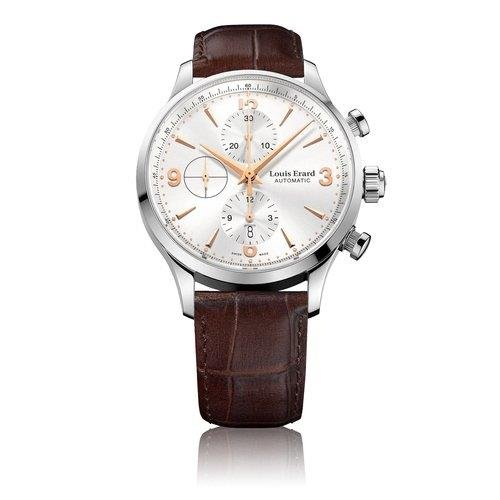 LOUIS ERARD 78225AA11BDC21 GENTS BROWN CALFSKIN 44MM STAINLESS STEEL CASE WATCH