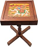 #2: Jaipurcrafts Royal Rajasthan Rectangle With Storage Outdoor & Cafeteria Stool (Multicolor)
