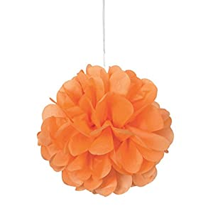 Unique Party- Paquete de 3 pompones pequeños de papel de seda, Color naranja, 23 cm (64212)