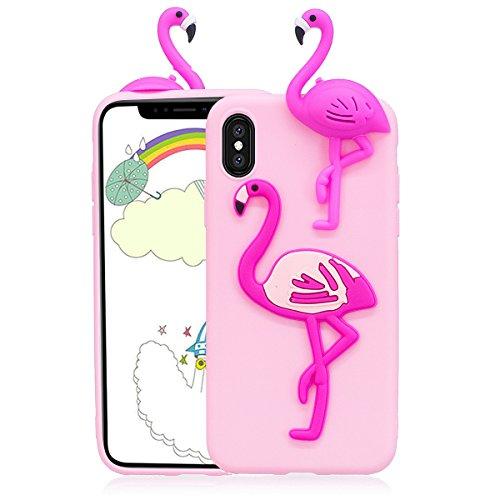 Cover iphone X Custodia iphone X Silicone 3D Cartoon Leton Morbido TPU Gel Case per Apple iphone X (5.8 pollici) Ultra Sottile Flessibile Satinato Gomma Caso Anti Graffio Antiurto Protettiva Bumper Ca Fenicottero Rosa