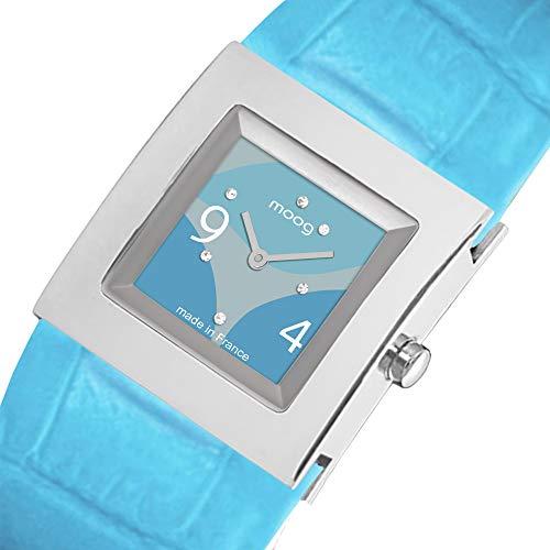 Moog Paris Harmony Women's Watch with Blue Dial, Blue Genuine Leather Strap & Swarovski Elements - M41353-106