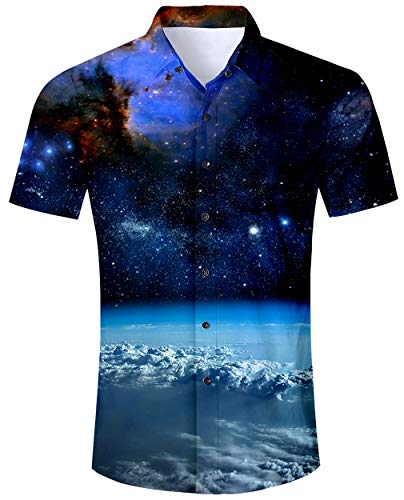 Drucken Regular Fit Hemd (ALISISTER Herren Hawaiihemd 3D Galaxis Hemden Kurzarm Shirt mit Drucken Tropical Button Down Strandurlaub Hawaii Hemd Aloha Sommer Regular Slim Fit Shirts Blau M)
