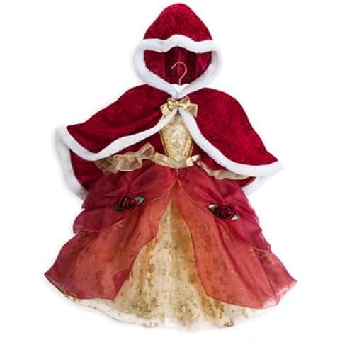 Disney tienda auténtica, la belleza y la bestia de la princesa Belle niños traje con capa - tamaño de la niña 9/10