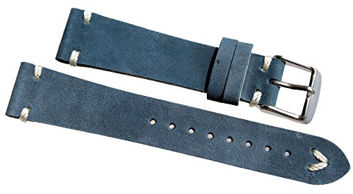 Sulla 22mm Herren Leder Uhrenarmband BS weiße Naht Retro Look Marine blau