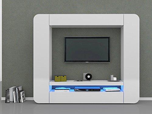 """Wohnwand Wohnzimmerschrank Mediawand Schrankwand Wohnzimmer Möbel """"Living I"""" (Weiß-Hochglanz) - 2"""
