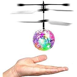 Balle volante RC, Hebey Coloré Volant RC Jouets pour enfants Balle volante RC Hélicoptère Jouet Cristal Clignotant Lumière LED Boule volante Mini Drone Magie Jouets Volants pour Enfants (Football)