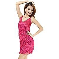 BOZEVON Mujer Sin Mangas Vestido Danza Latino Traje Lentejuela Baile Tango  Salsa Deportivo Salón De Baile 2109a5d996f