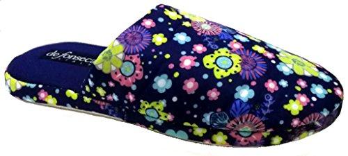 De fonseca ciabatte pantofole cotone da donna mod. roma top w309 blu (40/41)