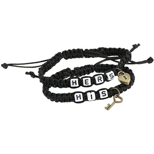 Emma HIS & Hers Schloss und Schlüssel Paar Armband Lovers Armbänder Verstellbar für Freundin Freund Kette Armreif (Paare Armband Schloss Und Schlüssel)