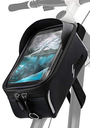 ONEFLOW® Rahmentasche Wasserfest mit 3-Punkt-Fixierung für alle Nokia Modelle | Voll bedienbar + geräumiges Innenfach mit Reißverschluss, Schwarz -