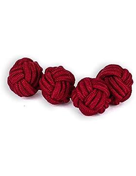 Seidenknoten Manschettenknöpfe | Knoten | Rot | Stoff Seidenknötchen | Handgefertigt | Für jedes Hemd mit Umschlagmanschette...