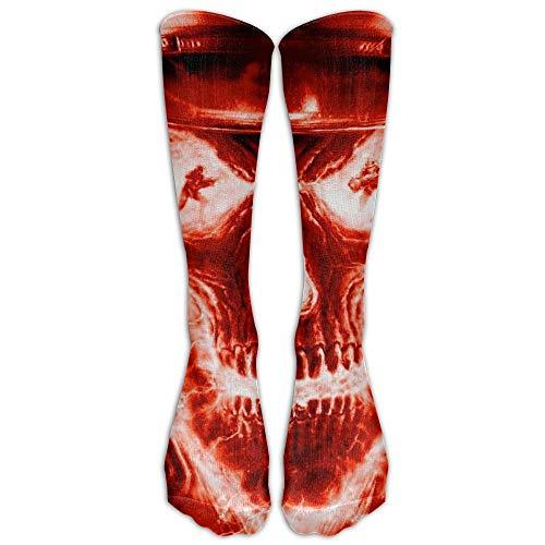 Nicegift Men's Women's Novelty Red Fire Skull Head Long Sock Athletic Calf High Crew Soccer Socks Sports 19.7 inch -