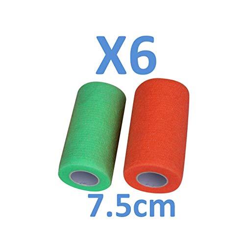 PintoMed Kohäsive Bandage 3 GRÜN + 3 ORANGE Insgesamt 6 Stück Fixierbinde Selbsthaftend Elastisch Haftbandage, elastischer Fixierverband, Verband 7,5 cm x 4,5 M