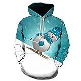 Fenverk Herren Herbst Winter Weihnachten Mit Kapuze Sweatshirt Tops Jacke Mantel Outwear Weihnachtsmann Claus Kapuzenpullover Zur Seite Fahren Bluse Unisex Hoodies 3D Sweatshirts(Blau 2,XL)