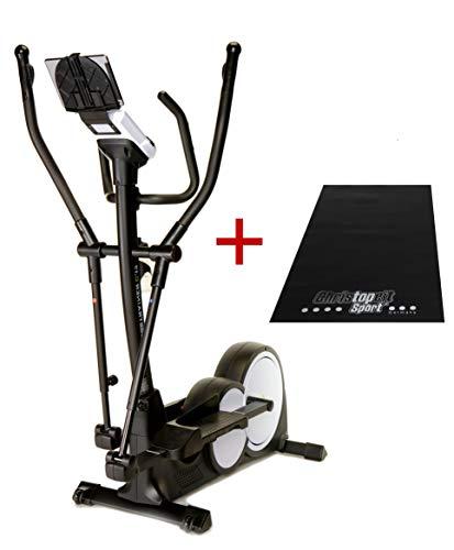 Trainer4you Crosstrainer Ergometer C17 mit 16 kg Induktionsbremssystem, Pulssensoren, großem Display, 32 Widerstandsstufen - inkl. Matte