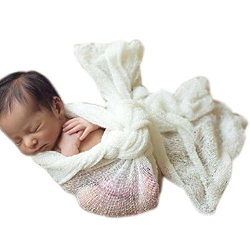 Baby Kleidung,Xinan Baby-Fotografie Props Decke Rayon Wraps Stretch Knit Wrap Newborn Foto Wraps Hammock (Weiß) (Mutterschaft Spandex Shorts)