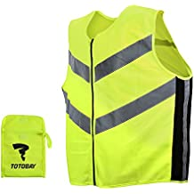 TOTOBAY Hi-Vis Vest Reflective Gilet Safety Vest High Visibility Waistcoat with YKK Zipper CE EN20471 Vest for Running Night Sports Jogging Cycling Riding Security Work