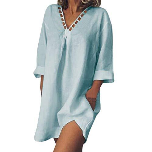 Damen Baumwolle Leinen Freizeitkleider Lose Casual T-Shirt Kleid Sommer Minikleid Tunikakleid V-Ausschnitt Ferien Pullover Kleider Hemdkleider -