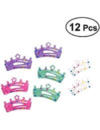 12 clips Frcolor con diseño de corona, accesorios para el pelo para bebés, niñas, adolescentes (color al azar)