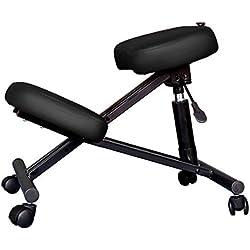 Lyndan-Albury Negro portátil ligero acero ergonómica rodilla taburete silla de masaje apoyo establo para salón de belleza Spa adhesivo de terapia Reiki Curación sueco masaje fisioterapia