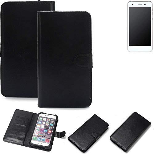 K-S-Trade® Wallet Case Handyhülle Für Vestel V3 5570 Schutz Hülle Smartphone Flip Cover Flipstyle Tasche Schutzhülle Flipcover Slim Bumper Schwarz, 1x